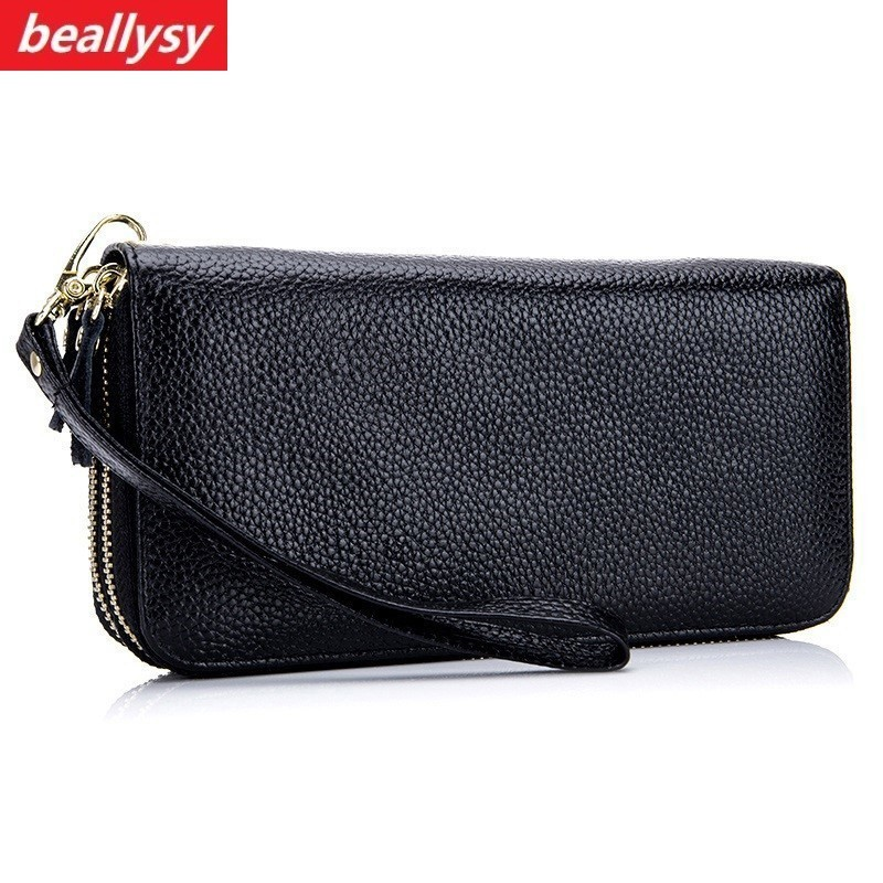 RFID Genuine Leather Women Wallet Female zipper Long Walet clamp for money Coin Purse Clutch Card Holder Small Vallet Portomonee