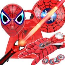 فيلم المنتقمون سبايدرمان عمل الشكل البلاستيكية LED ضوء الصوت الرجل العنكبوت قناع درع السيف اللعب قفاز قاذفة Coplay