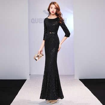 weiyin Black Evening Dresses Long Sparkle 2019 New O-Neck Women Elegant Sequin Mermaid Maxi Evening Party Gown Dress WY1261