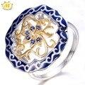 HUTANG Creado Azul Zafiro Esmalte bicolor 925 Elemento Chino Flor Anillo de Plata Fina Joyería de Las Mujeres 11.11