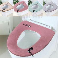 Cute Cartoon Cat Washable Bathroom Toilet Warmer Soft Cushion Pad Closestool Seat Lid Cover Mat