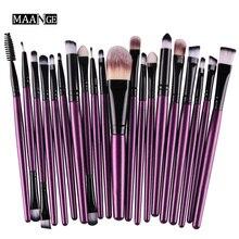 MAANGE 20Pcs purple Makeup Brushes Set Powder Blusher Foundation Eyebrow Eyeshadow Eyeliner contour Concealer Brush tools kit
