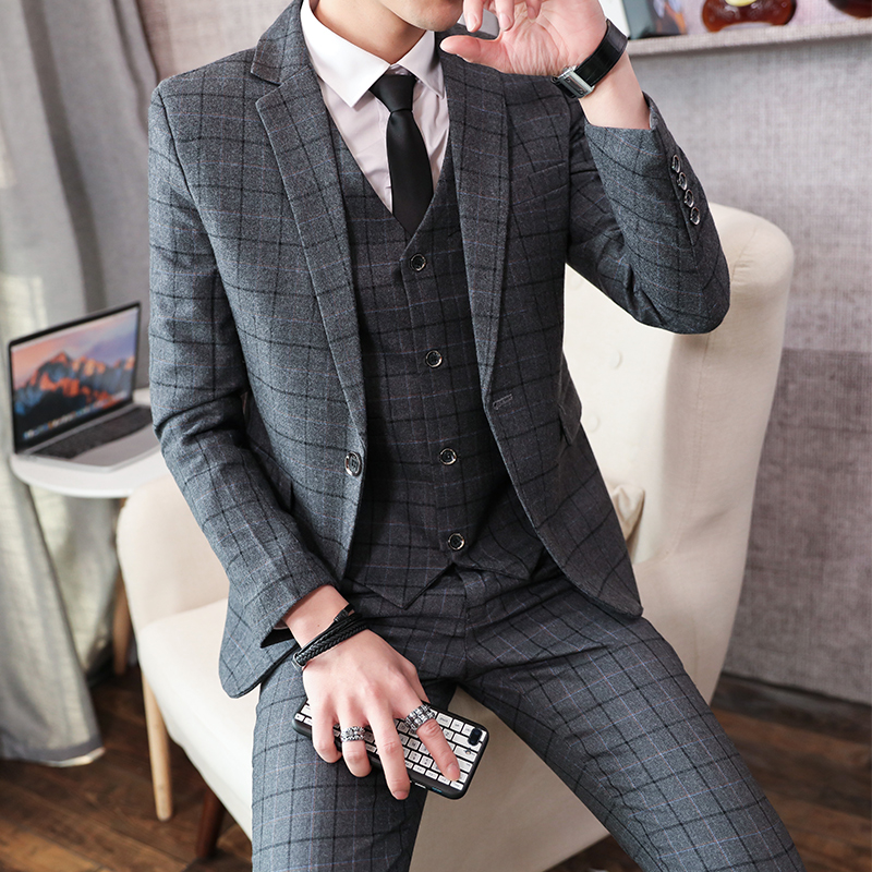 Autumn Winter New Fashion Men Casual Business Plaid Suit 3-piece Set British Hairstylist Groom Tuxedo Wedding Dress Suits 5XL