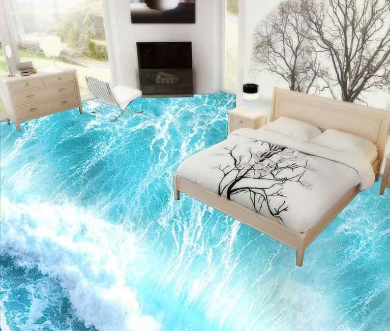 Custom Vinyl Floor Roll Wallpaper Beach Waves 3d Flooring