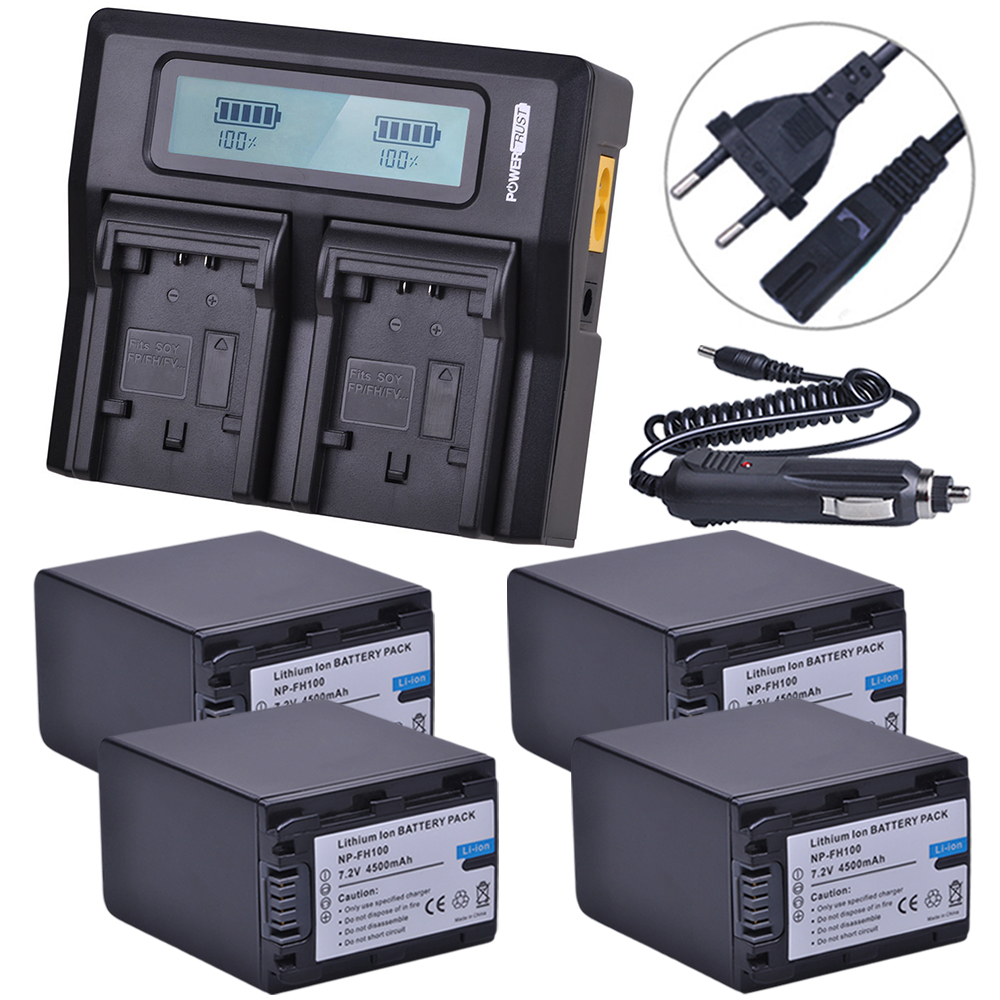 4x 4500mAh NP-FH100 NP FH100 FH100 Battery+LCD Rapid Charger for Sony FH90 FH70 FH60 FH40 FH30 FP50 CR-SX40 SX40R SX41 fh100 compatible 7 2v 3300mah battery pack for sony sr300e sr200e sr82e more