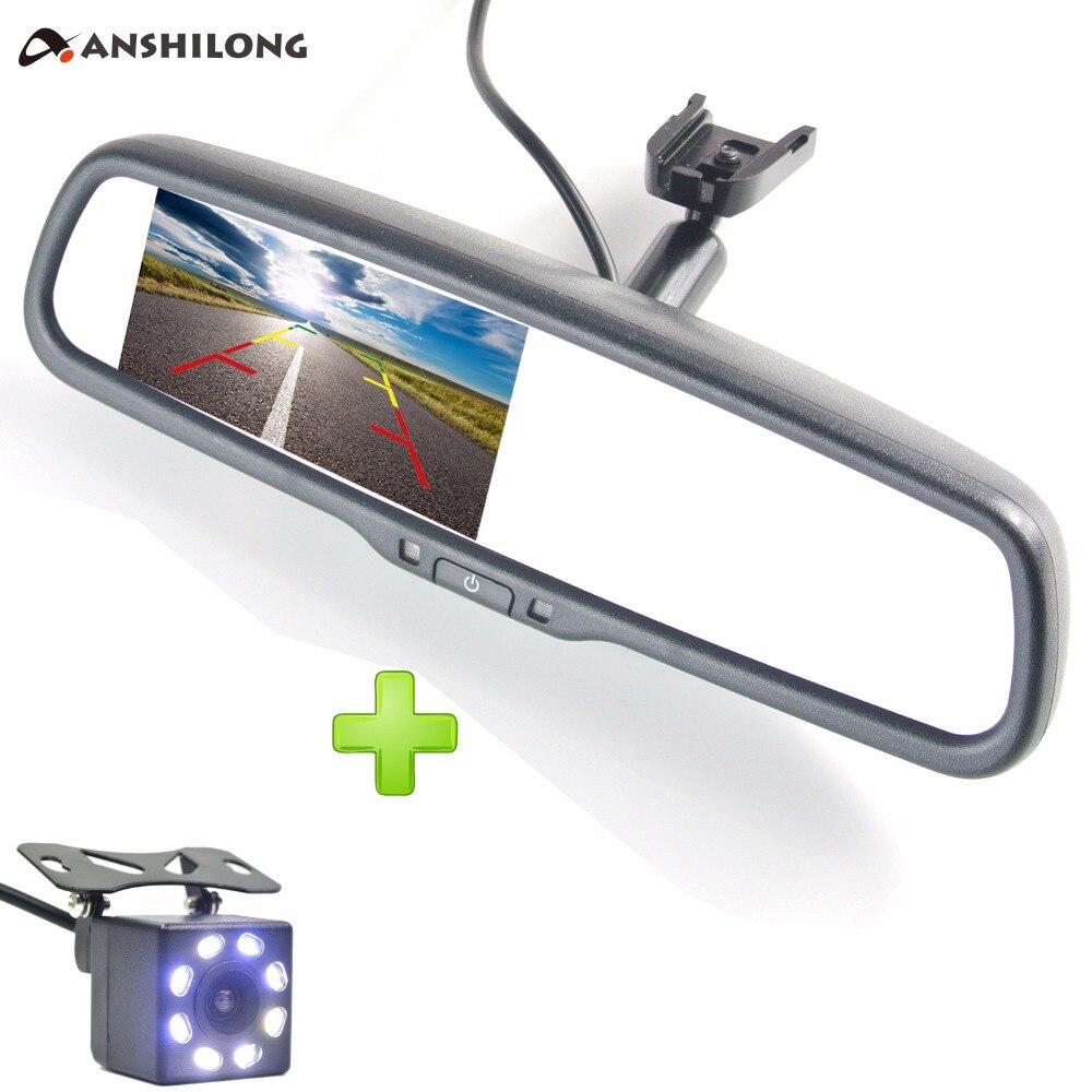 ANSHILONG Car Rear View System 4.3 LCD Mirror Monitor + 8pcs LED HD Reverse Backup Parking Camera + OEM Bracket