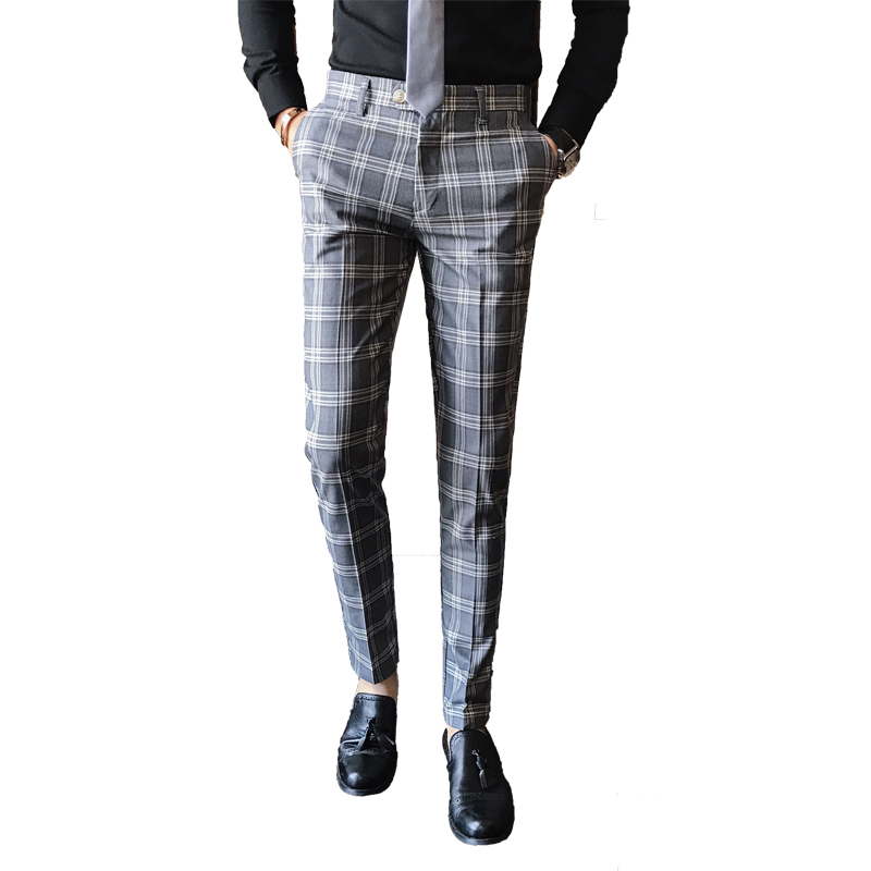 Preferred Blue Plaid Pants Mens Calca Social Trousers Mens British Pants  BX02
