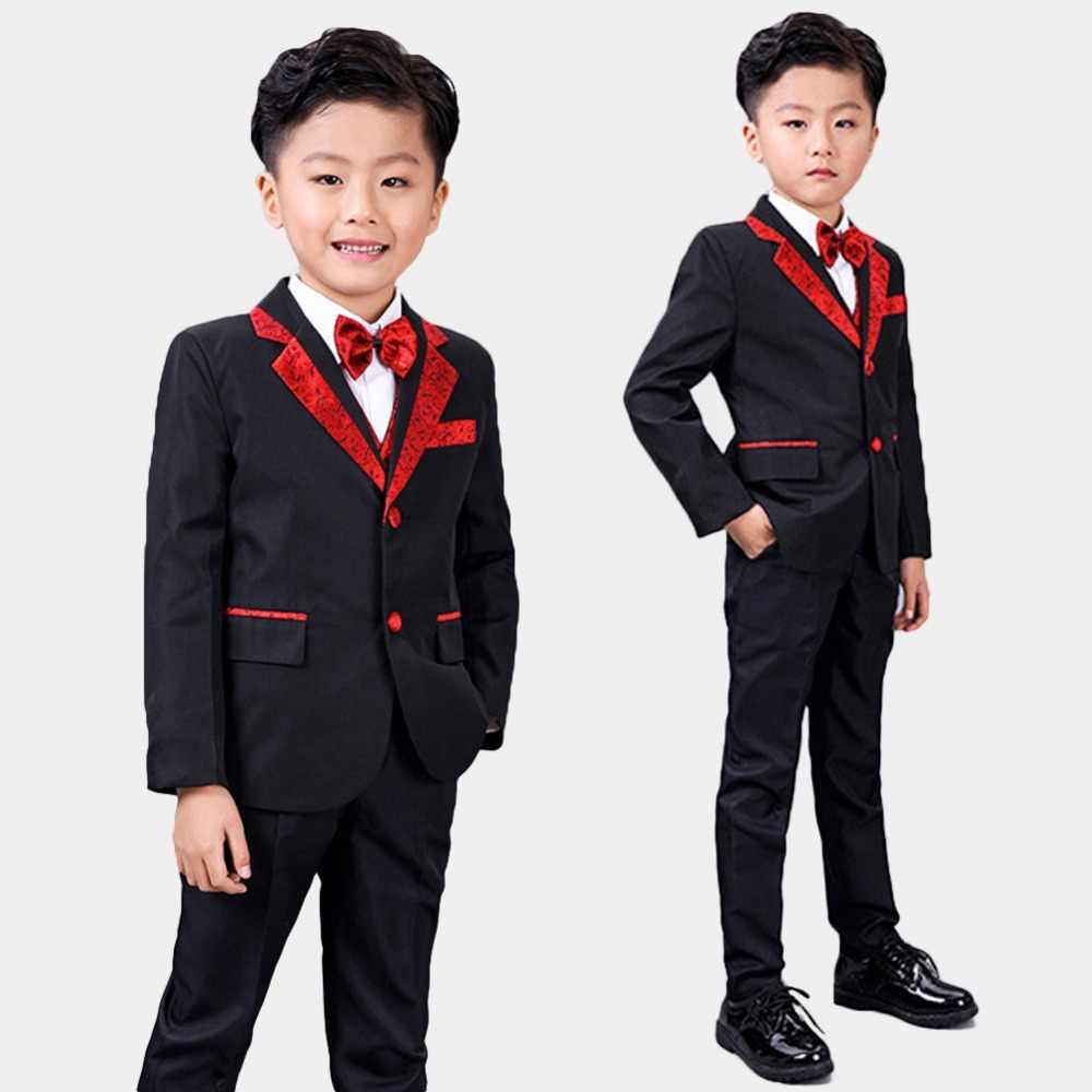 61f164803 5 piezas bebé niño y niño chico Formal de los niños boda smoking fiesta traje  negro
