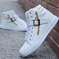 Los nuevos Hombres Casual Zapatos Otoño Invierno zapatos de Algodón de Moda Masculina negro Blanco Diaria de Los Hombres de Alta Superior Zapatos Botas Impermeables Del Tobillo 2A