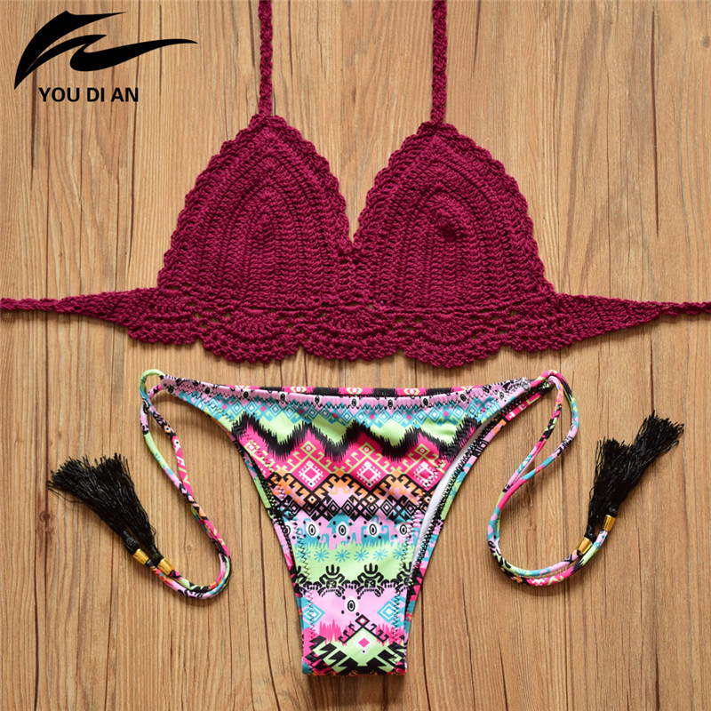 Sexy handmade crochet bikini cotton crop top