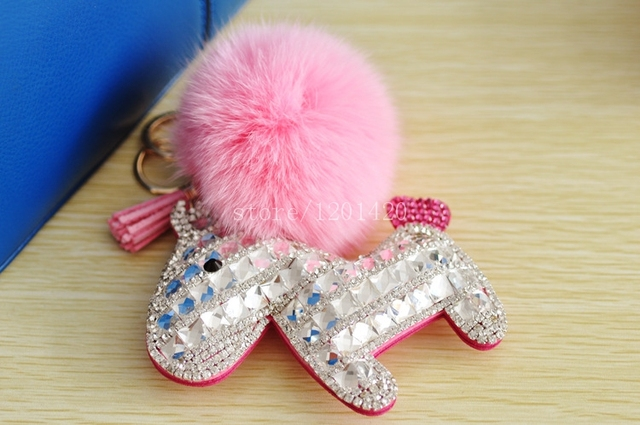 Woman Shiny Rhinestone Accessary Clear Crystal Lovely Dog keychain keyring  bag charm, handbag charm