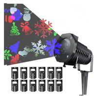 Outdoor Christmas Lights LED Laser Snowflake Projector 12 Film Cards dj disco Light New Year's Decor For Home Garden
