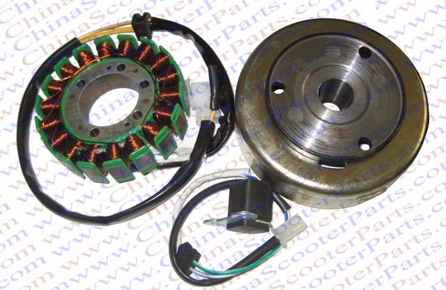 Magneto Kit 18 Pole Coil 4 Wire Trigger Flywheel Rotor 250CC 172MM PGO Dune Kazuma Scooter ATV  Buggy Parts magneto coil 12v 18 coils 3 2 pins repair water cooled cf188 cf500 18 pole stator utv atv buggy go kart 0180 032000 xq cf500