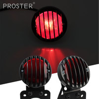 Proster Super Bright Retro 12V Red Lens Motorcycle Rear Brake Lamp License Plate Bracket Tail Light