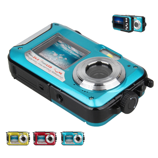 ФОТО 2PCS Free DHL 24MP Double Screens Waterproof Digital Camera,2.7 inch +1.8 inch Screens HD 1080P CMOS 16x Zoom Camcorder