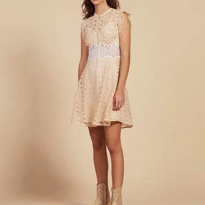 Women Dress 2019 Spring and Summer Elegant Slim Sweet Lace Sleeveless Dress