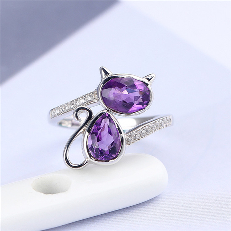 Anel de pedras preciosas de moda explosão fabricantes de jóias por atacado 925 prata incrustada natural ametista anel de abertura