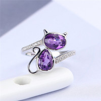 Fashion explosion gemstone ring jewelry manufacturers wholesale 925 silver inlaid natural amethyst ring opening