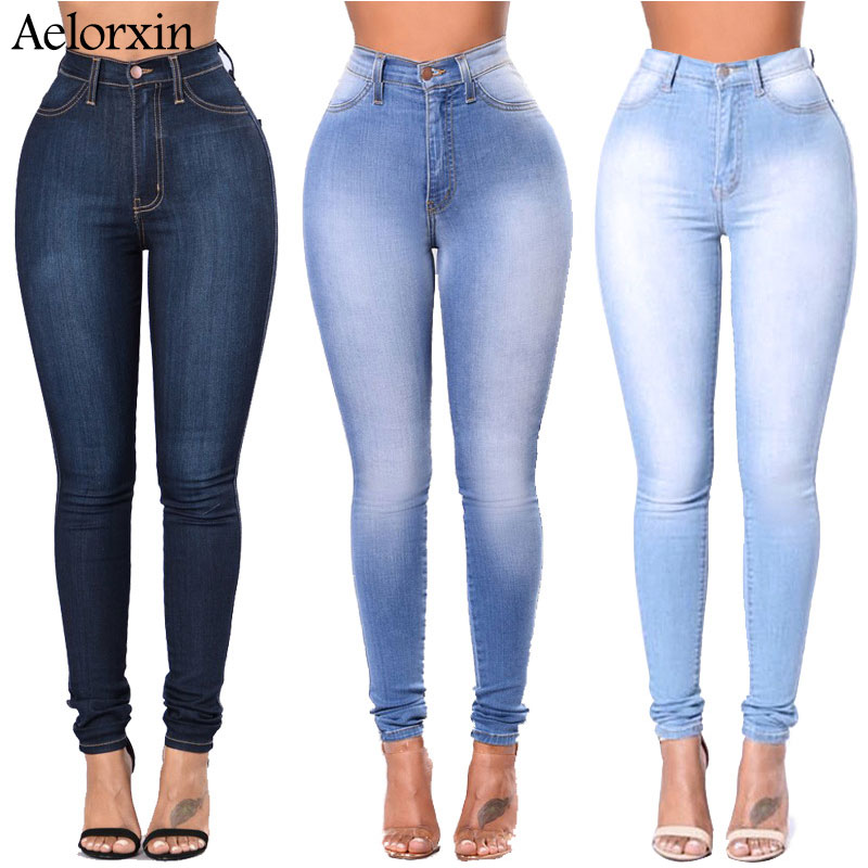 2018 Slim   Jeans   for Women Skinny High Waist   Jeans   Woman Blue Denim Pencil Pants Stretch Waist Women   Jeans   Pants Calca Feminina