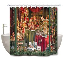Traditional Toy Store for the Winter Holidays Shower Curtain Christmas With Mat Set Bathroom Fabric For Bathtub Decor(China)