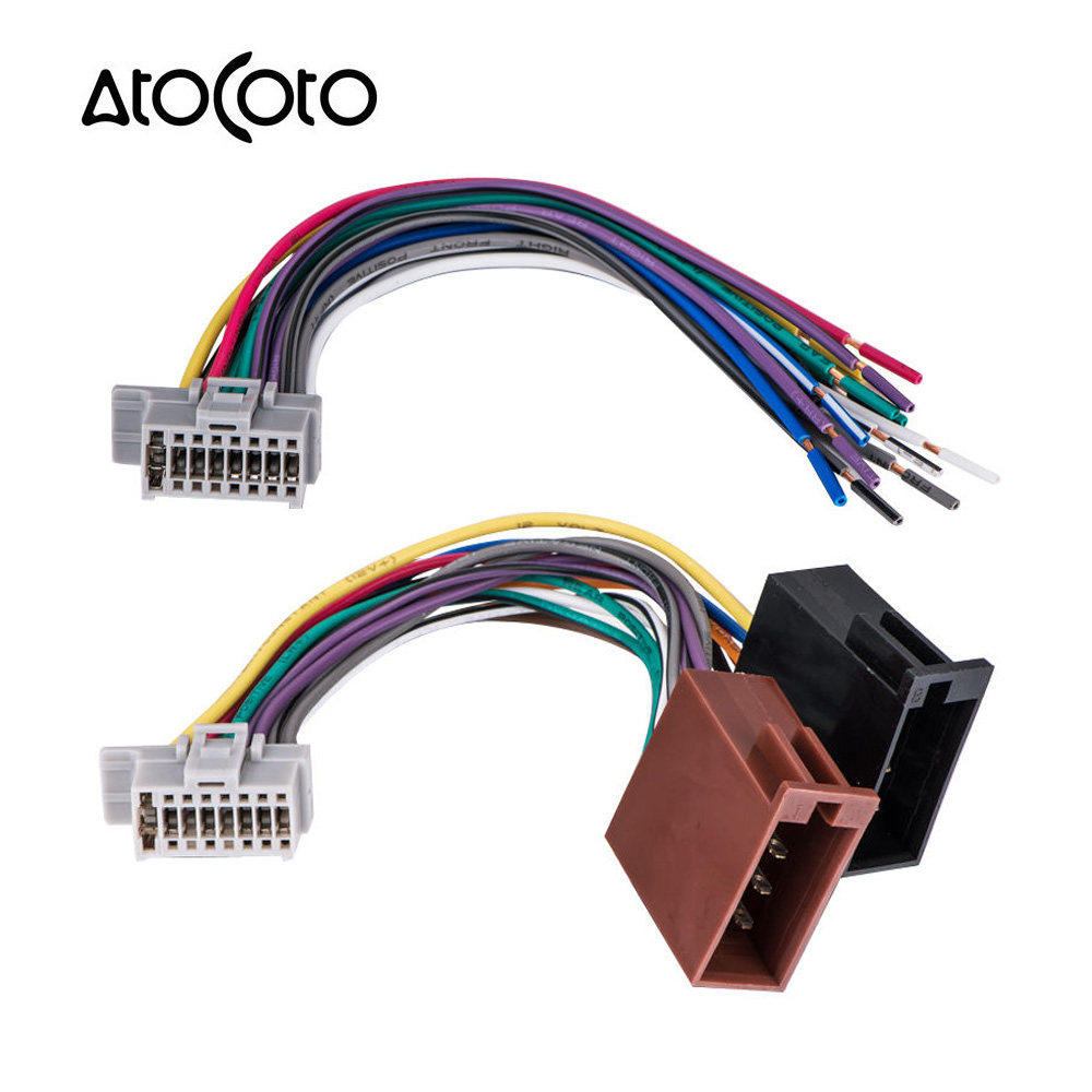 Online Shop Car Stereo Radio Iso Standard Wiring Harness Connector 16 Pins Pin Wire Cable Adapter For Panasonic Cq