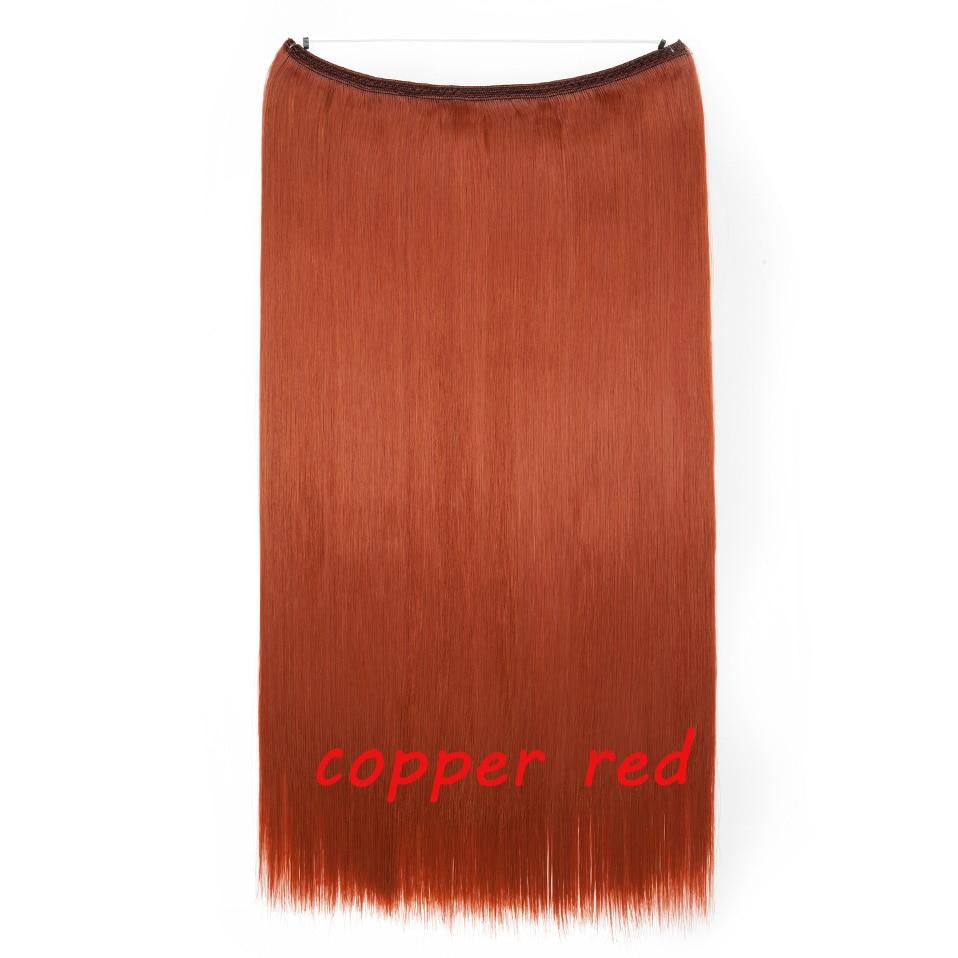 S-noilite 20 дюймов невидимый провод без заколки для волос Расширения секретная Рыбная линия шиньоны шелковистые прямые настоящие натуральные синтетические - Цвет: 704 mix 181