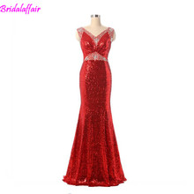 Sexy Red Sequins Woman Bridal Gown Slim Mermaid Arabic Evening Dresses V Neck Dress Middle East Party 2019