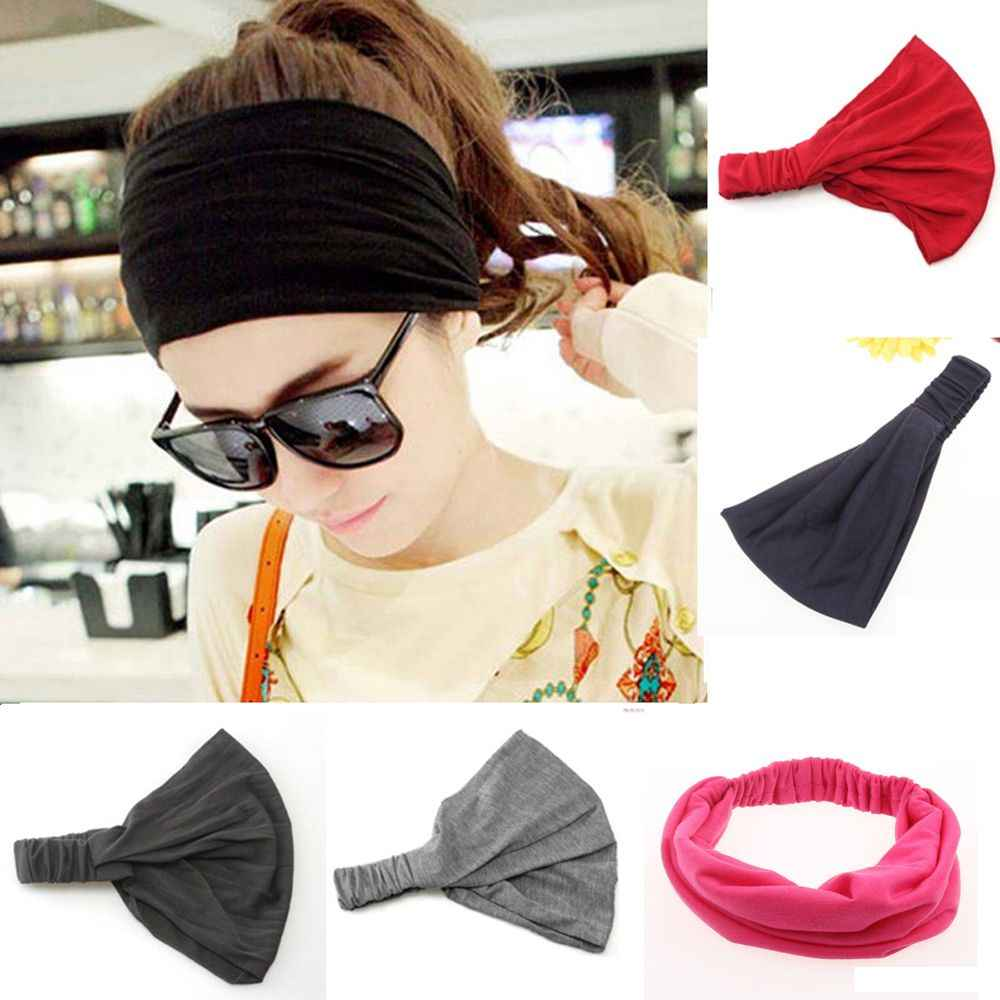 1Pcs Fashion Women Girls Hair Accessory Full Vintage Wide Ribbon Headbands Bandanas Hair Scarf Elastic Tops Solid Color