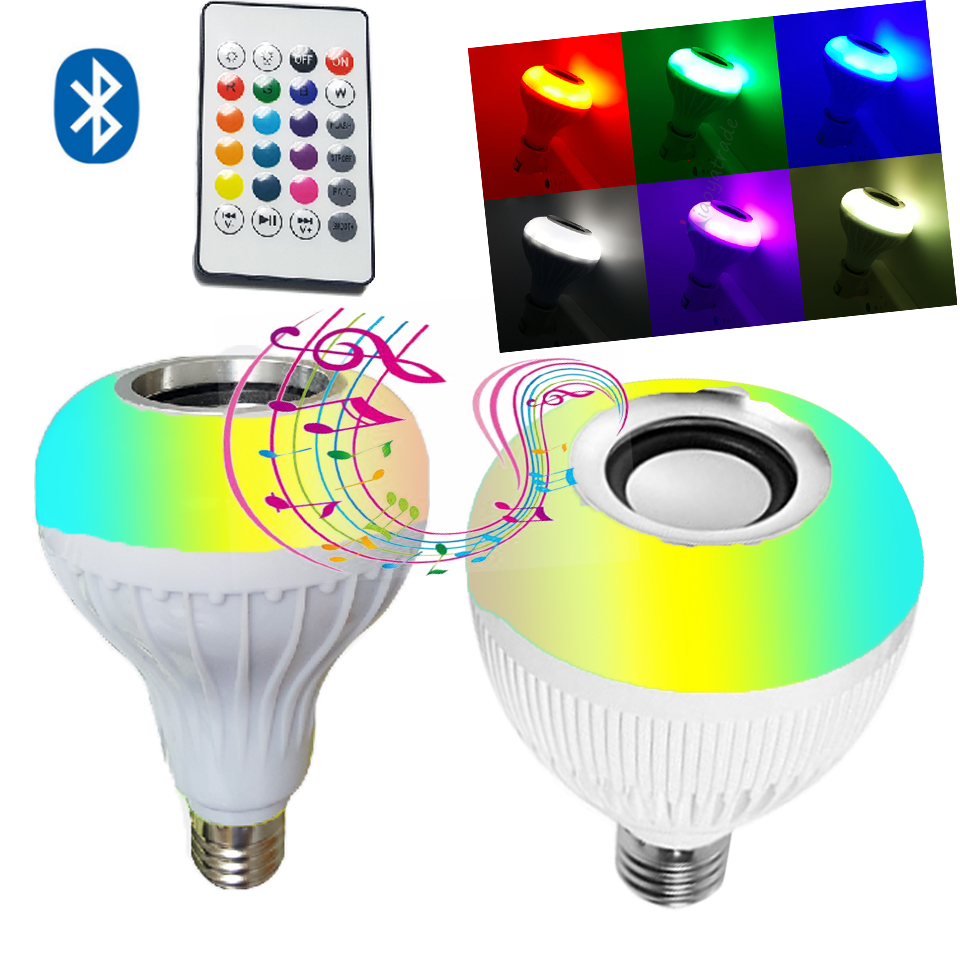 12W E27 Smart RGB RGBW Wireless Bluetooth Speaker Bulb LED Lamp Light Music Player Dimmable Audio 24 Keys Remote Controller