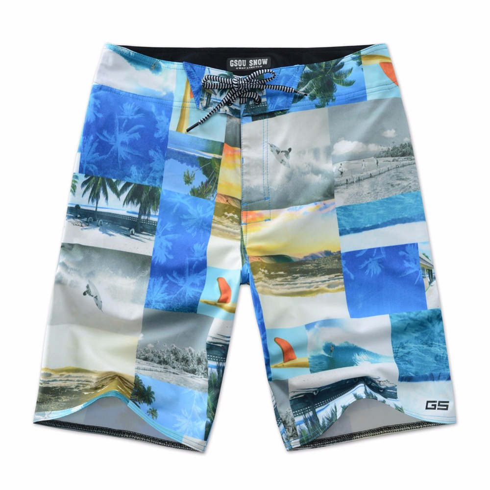 Colorful Print   Board     Shorts   Men Summer Beach Blue Swimwear Mens Joggers Fitness Surfing   Short   Water Sportswear