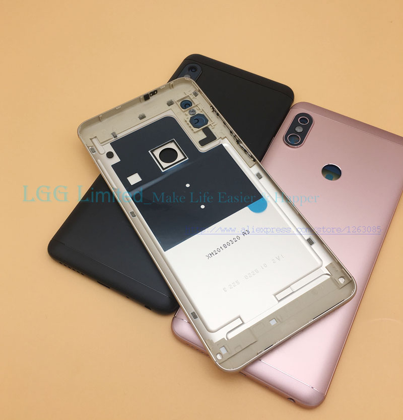 Metal Back Housing For Xiaomi <font><b>Redmi</b></font> <font><b>Note</b></font> <font><b>5</b></font> <font><b>Pro</b></font> <font><b>Note</b></font> <font><b>5</b></font> <font><b>Battery</b></font> <font><b>Cover</b></font> with Side Buttons + Camera Glass Lens Replacement image