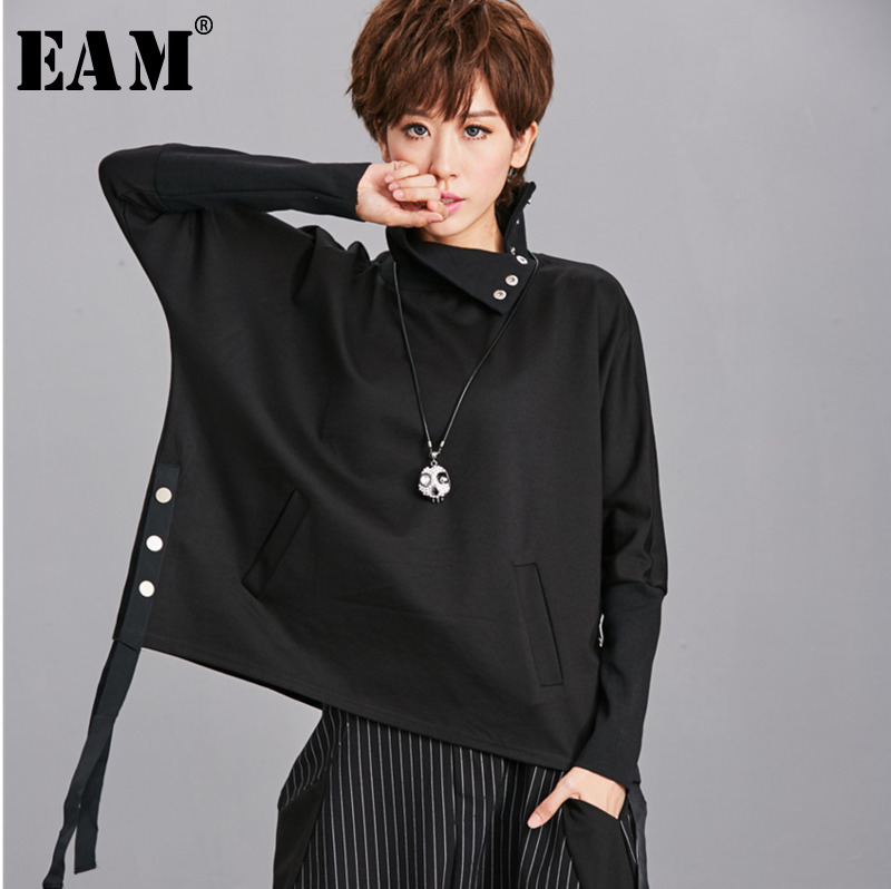 [EAM] Loose Fit Black Ribbon Split Sweatshirt New High Collar Long Sleeve Women Big Size Fashion Tide Spring Autumn 2020 OA879