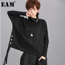 [EAM] Loose Fit שחור סרט פיצול סווטשירט חדש גבוה צווארון ארוך שרוול נשים גודל גדול אופנה גאות באביב סתיו 2020 OA879