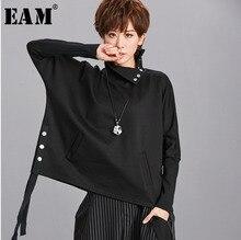 EAM Sudadera con cuello alto de dos tonos y manga larga para mujer, suéter holgado con cinta negra, talla grande, moda, Primavera, Otoño, 2020, OA879