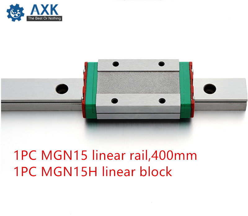 AXK Linear Guide MGN15 L=400mm linear rail way + MGN15H Long linear carriage for CNC X Y Z AxisAXK Linear Guide MGN15 L=400mm linear rail way + MGN15H Long linear carriage for CNC X Y Z Axis