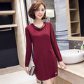 2016 Autumn and Winter  Women Graceful Knit Dress Korean Style Sweet Solid Color Bottom DressL-5XL Size