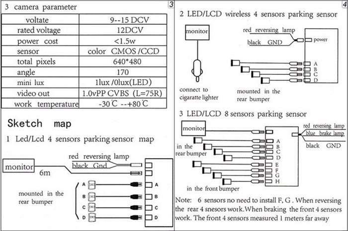 Koorinwoo 4 Sensors Buzzer 22mm Car Parking Sensor Kit