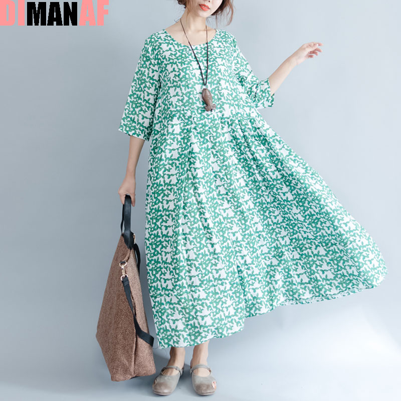 DIMANAF Plus Size Summer Floral Print Dress Women Linen Vintage Female Dress Casual Beach Show Thin European Vintage 2017 Dress