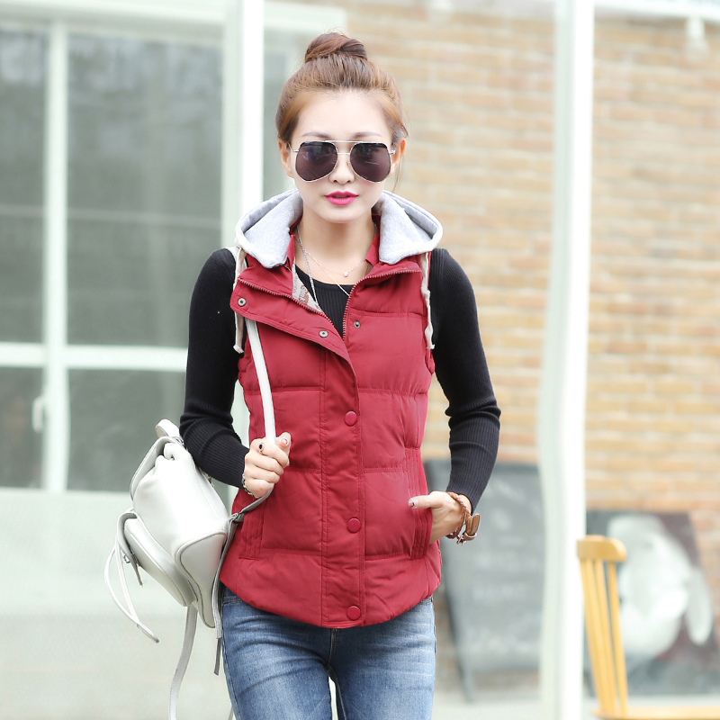 2016autumn winter Hot selling Womens casual with a hood down cotton waistcoat female Ladies cute vest outerwear Cheap wholesale
