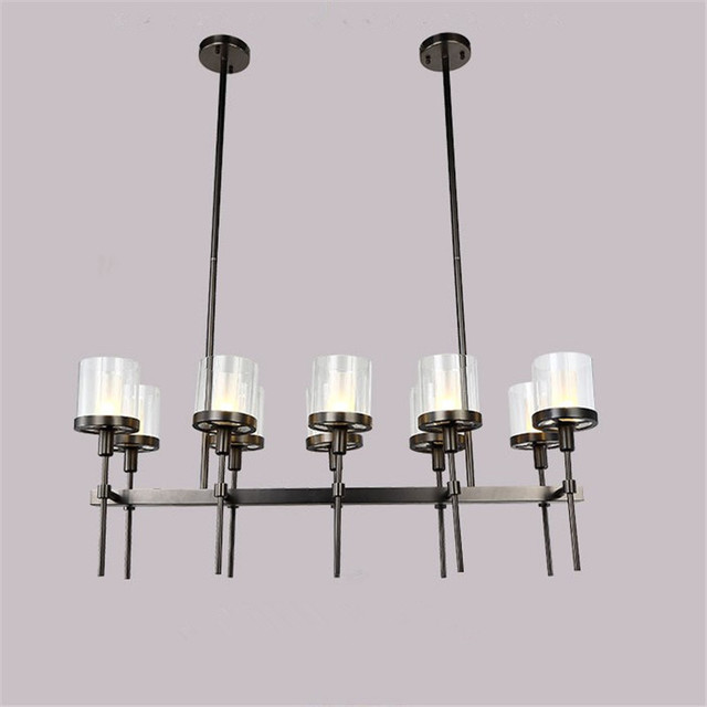 retro black metal glass shades pendant chandelier e14 lampholder
