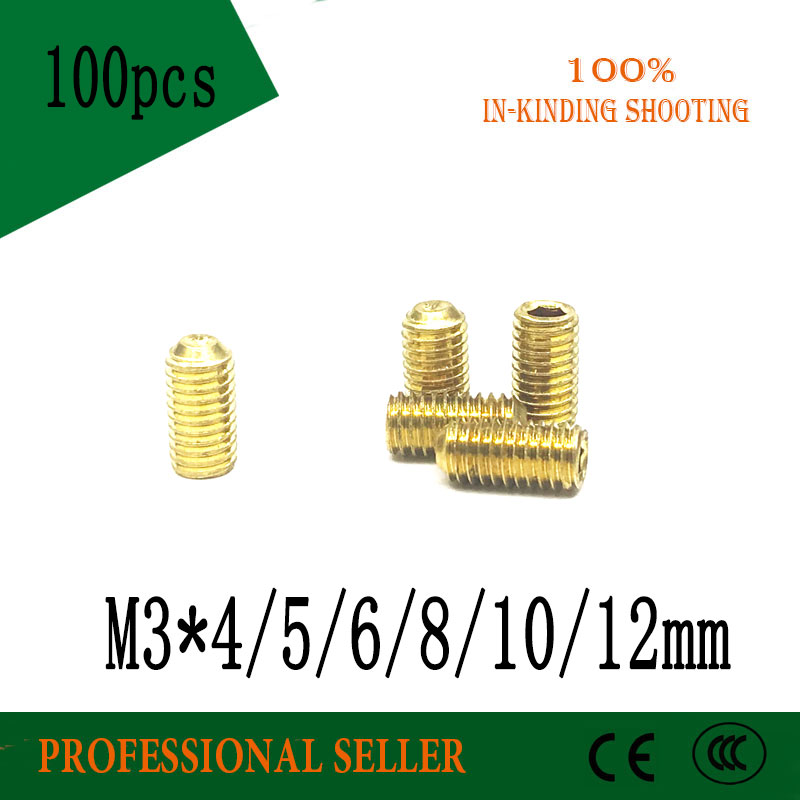 M3*<font><b>3</b></font>/4/5/6/8/10/12 <font><b>mm</b></font> <font><b>screw</b></font> <font><b>brass</b></font> set <font><b>screws</b></font> Concave hex socket Chimi screwsheadless Top wire machine <font><b>screw</b></font> image