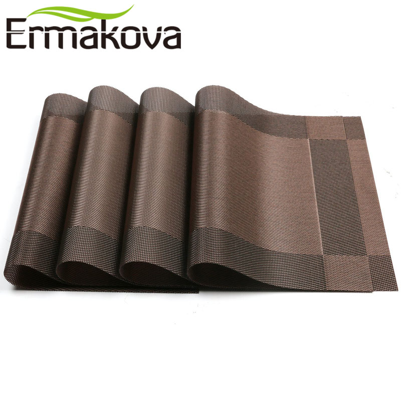 ERMAKOVA Placemat 4 Pcs/Lot Non-slip PVC Table Mat Woven Vinyl Anti-skid Washable Stain-Resistant Dining Disc Bowl Pad Coaster