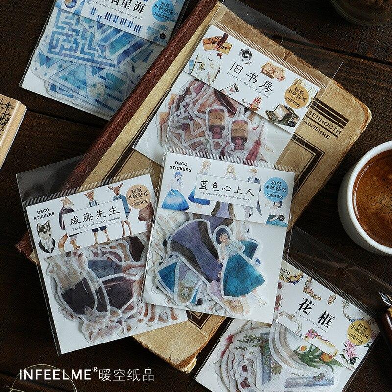 40pcs/pack Animals Flowers Border Adhesive Diy Sticker Stick Label Notebook Album Diary Decor Student Stationery
