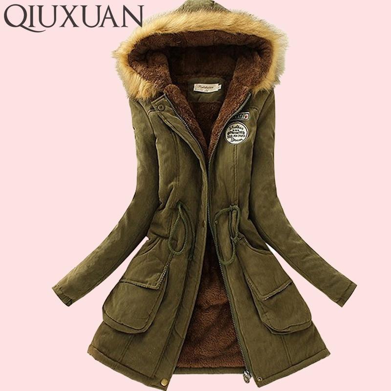 QIUXUAN Women Parka Fashion Autumn Winter Warm Jackets Women Fur Collar Coats Long Parkas Hoodies Office