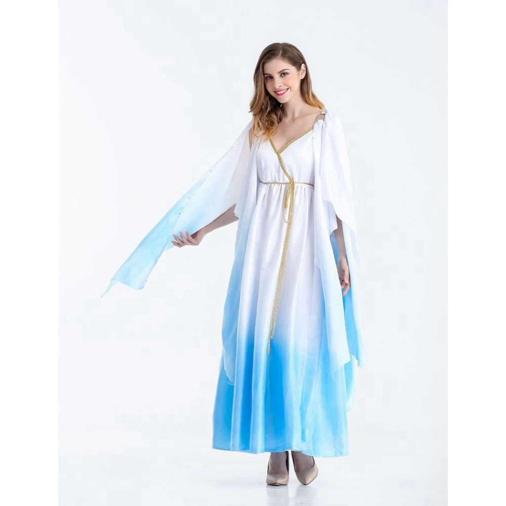 Halloween carnaval kigurumi Cosplay Costume Greek Goddess Egyptian Queen Athena white robe stage party role play dress