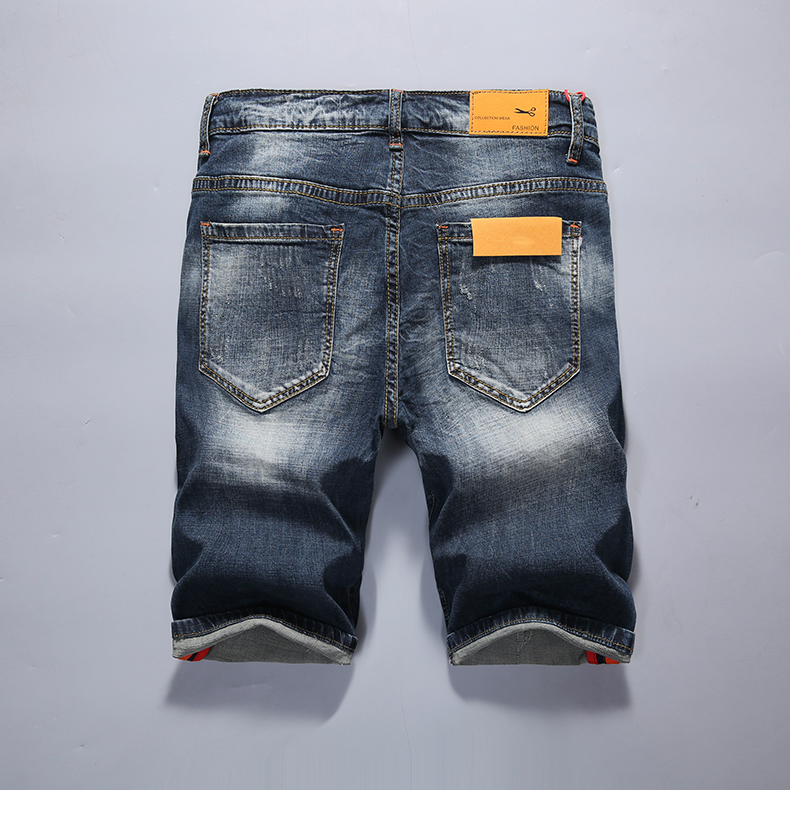 Men's Summer Shorts Jeans Blue Stretchy Slim Ripped Fashion Designer Retro Broken Holes Distressed