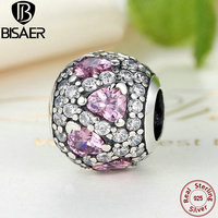 BISAER 100% 925 Sterling Silver FANCY PINK HEART PAVE BALL Pink CZ Charm Fit PAN Charm Bracelet & Bangle DIY Jewelry GOS279