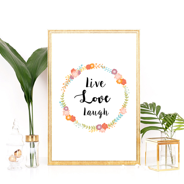 Wall Art Poster Live Love Laugh Canvas Print Quote Wall Picture ...