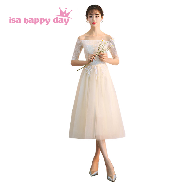 Fashion Pretty Champagne Colored Girl Bride Maid Tea Length Brides Maids Teens Party Ball Dresses For Weddings 2019 H4202
