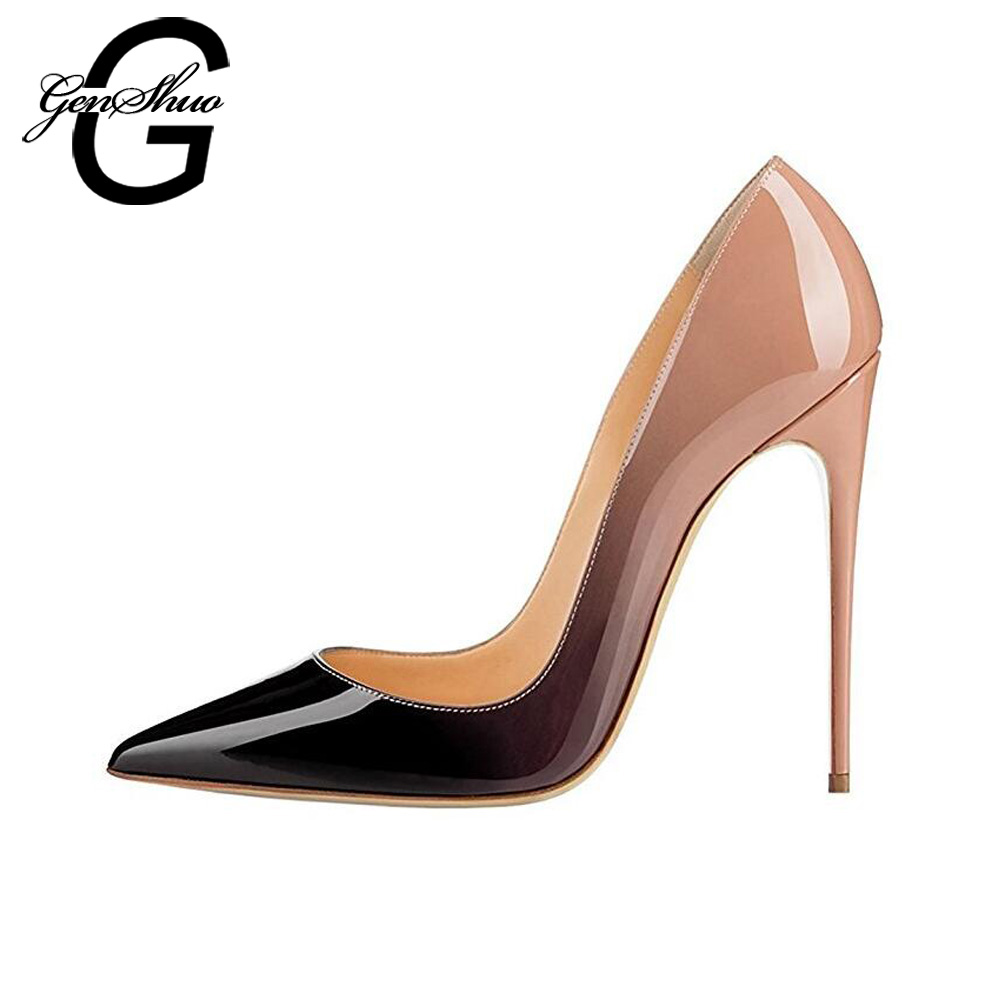 Women High Heels Ombre 10 12cm Pointed Toe Thin Heel Women Pumps Shoes Stilettos Party Wedding Shoes Big Plus Size 10 11 12 craylorvans top quality 8 10 12cm women pumps new fashion leopard color pointed toe high heel wedding shoes ultra thin high heel